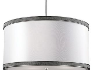 Feiss Pave 3 light Polished Crystal Inlay Drum Pendant