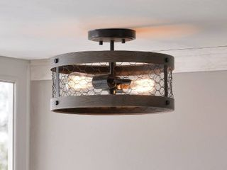 Grayson 2 light Wooden Semi Flush Mount