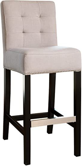 Abbyson Tufted Fabric Bar Height Dining Chair