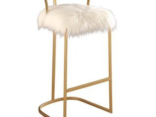 Abbyson Zoe Ivory Faux Fur Bar Stool