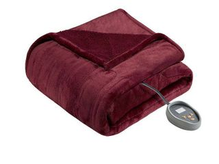 BeautyRest Solid Microlight to Berber Heated Blanket   Queen
