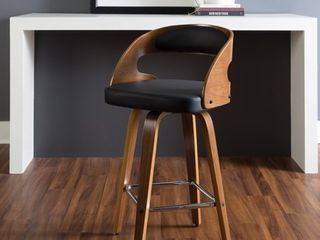 OFM Bentwood Frame Wood Vinyl Swivel Seat Counter Height Barstool