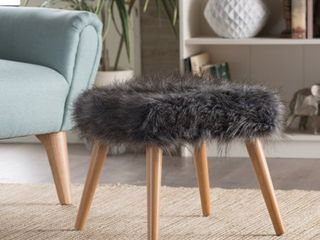 Huxley Faux Fur Ottoman Stool by KH