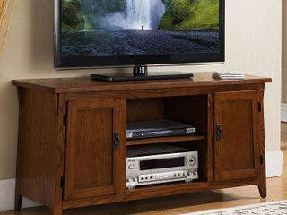 Mission Oak 2 Door TV Console w  Open Component Bay