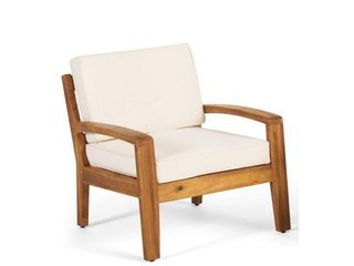 Grenada Teak Finish Stationary Wood Outdoor lounge Chair