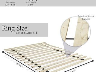 ONETAN Heavy Duty Mattress Support Wooden Bunkie Board Slats   King