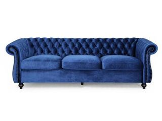 Somerville Chesterfield Tufted Jewel Toned Velvet Sofa w Scroll Arms by CKH  INCOMPlETE ITEM