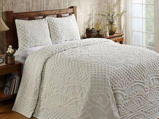 Better Trends Trevor Collection in Geometric Design 100  Cotton Bedspread Set   Queen