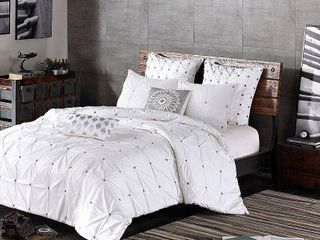 Ink Ivy Masie Cotton Percale Embroidered Ruched Duvet Mini Set Bedding   Full Queen