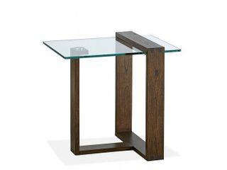 Bristow Modern Acorn Wood Glass Rectangular End Table