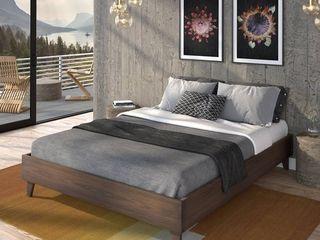 Kotter Home Solid Wood Mid Century Platform Bed   Queen