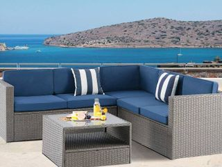 Solaura Outdoor Rattan Sectional Sofa  BOX 2 OF 2