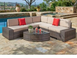 Suncrown Outdoor Brown Rattan Sectional Sofa Set  BOX 4 OF 4