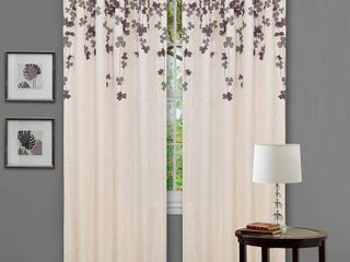 lush Decor Faux Silk Flower Drop Curtain Panels   Set of 2