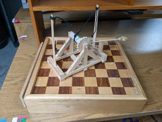 Wooden Chess Board  And Wooden Catapult