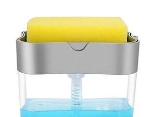 Aeakey Soap Dispenser Dish Soap Dispenser for Kitchen Sponge Holder Sink Dish Washing Soap Dispenser 13 Ounces  Silver
