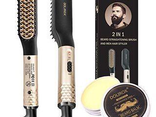 Beard Straightener  Heated Beard Comb Electric straightening comb with Beard Balm and Beard Straightening Brush Hair Straightening Comb Gifts for Dad Him Men