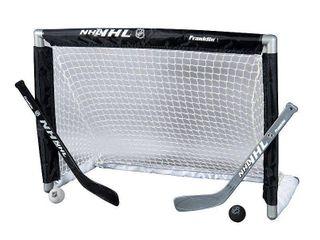 Franklin Sports Knee Hockey Set   Includes 1 Mini Hockey Goal   2 Mini Hockey Sticks and 2 Foam Balls
