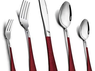 Silverware Set  Elegant life 20 Piece Stainless Steel Flatware Set Service for 4  Include Fork Spoon Knife  Tableware Cutlery Set for Home and Restaurant  Safe in Dishwasher RED