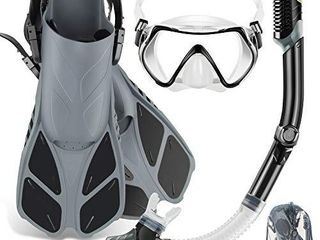ZEEPORTE Mask Fin Snorkel Set with Adult Snorkeling Gear  Panoramic View Diving Mask  Trek Fin  Dry Top Snorkel  Travel Bags  Snorkel for lap Swimming  Gray  S M