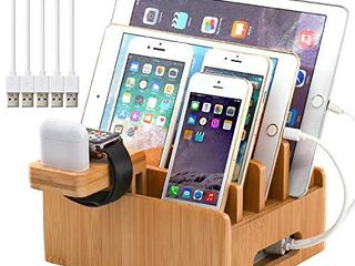 Pezin   Hulin Bamboo Charging Stations for Multiple Devices  Upgrade Desk Docking Station Organizer for Cell Phones  Tablet  AirPods  iWatch Stand  Includes 5 Cables BUT NO Power Supply Charger
