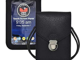 Touch Screen Purse by lori Greiner Fits Most Smartphones Stylish Crossbody with Shoulder Strap  RFID Keeps Cash  Credit Cards  Phone Screens Safe  Black