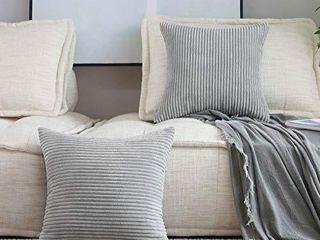 Home Brilliant 2 Pack Striped Soft Velvet Corduroy European Throw Pillow Sham for Sofa Couch Bench  26 inch 66x66cm  light Grey