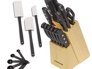 Farberware 22 Piece Never Needs Sharpening Triple Rivet High Carbon Stainless Steel Knife Block and Kitchen Tool Set  Black