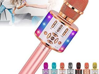 Amazmic Kids Karaoke Machine Microphone Toy Bluetooth Portable Microphone Machine Handheld with lED lights  Gift for Children s Birthday Party  Home KTV Rose Gold