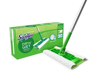 Swiffer Sweeper Dry   Wet All Purpose Floor Mopping and Cleaning Starter Kit with Heavy Duty Cloths  Includes  1 Mop  19 Refills