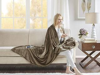 Beautyrest Plush Electric Blanket Throw for Cold Weather Multi level Heat Settings Controller  Secure Comfort low EMF Technology and Auto Shut Off Safety  60x70  Mink
