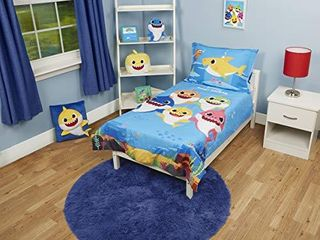 Baby Shark 4 Piece Toddler Bedding Set   Includes Quilted Comforter  Fitted Sheet  Top Sheet  and Pillow Case