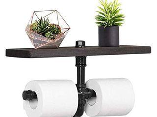 NEX Industrial Toilet Paper Holder  Wall Mounted Toilet Tissue Roll Holder Dispenser with Storage Shelf for Bathroom  Espresso