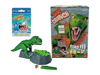 Dino Crunch   Get The Eggs Before The Dino Gets You    Includes A Fun Shark Bite War Card Game by Goliath