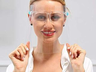 Face Shields Set with 10 Replaceable Anti Fog Shields and 5 Reusable Glasses for Man and Women to Protect Eyes and Face