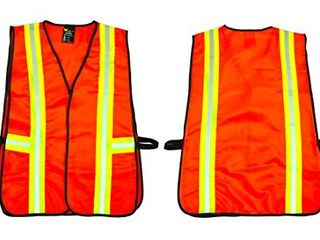 G   F 41113 Industrial Safety Vest with Reflective Stripes  Neon Orange