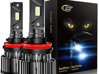 Cougar Motor lED Bulbs All in One Conversion Kit   H11  H8  H9   6000K Cool White  Halogen Replacement  Quick Installation low Fog light