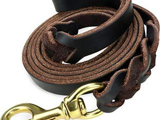 Taglory Premium leather Dog leash 6 Foot x 5 8 Inch  Braided latigo leather Training leashes for Medium and large Dogs  Brown