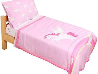 TIllYOU 5 Pieces Unicorn Toddler Bedding Set  Embroidered Quilt  Fitted Sheet  Flat Sheet  Pillowcases    Microfiber Printed Nursery Bedding for Girls  Pink Unicorn