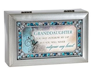 Granddaughter Jeweled Silver Finish Jewelry Music Box   Plays Tune You Are My Sunshine