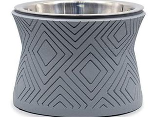 Pet Junkie Santa Fe Elevated Dog Bowl for Food and Water with Stainless Steel Washable Inner Bowl  Gray  Small
