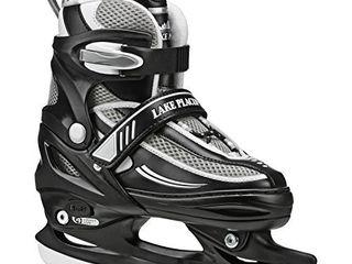 lake Placid Summit Boys Adjustable Ice Skate  Black White  Medium 1 4