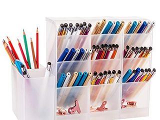 YAOYUE large Size Durable Strong Set of 5Pcs Desk Organizer Pen Holder Cup Makeup Marker Pencil Storage for Office School Home Supplies Teacher Translucent White Color