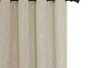 BUHUA Navy Blackout Curtains Grommet Top Drapes Wave line and Dots Printed Bedroom Blackout Curtains for Kids Room Navy Blue 52WA63l 2 Panels
