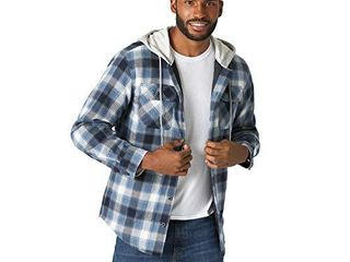 Wrangler Authentics Men s long Sleeve Quilted line Flannel Jacket with Hood  Vintage Night   3X large