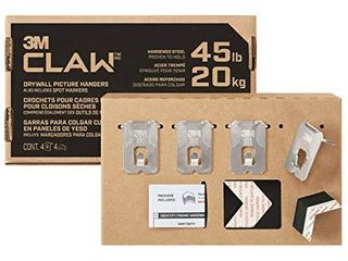 3M ClAW Drywall Picture Hanger with Temporary Spot Marker  Holds 45 lbs  4 Hangers  4 Markers Pack   Silver   3PH45M 4ESF