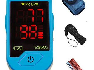 CHOICEMMED light Blue Finger Pulse Oximeter   Blood Oxygen Saturation Monitor   SPO2 Pulse Oximeter   Portable Oxygen Sensor with Included Batteries   O2 Saturation Monitor with Carry Pouch