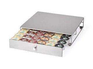 Nifty Coffee Pod Drawer Stainless Steel  36 K Cup Pod Pack Holder  Non Rolling  Under Coffee Pot Storage Sliding Drawer  Home Kitchen Counter Organizer