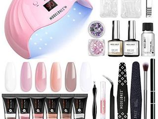Modelones Poly Extension Gel Nail Kit   6 Colors with 48W U V lED light Nail lamp Slip Solution Rhinestone Glitter All In One Kit for Nail Manicure Beginner Starter Kit DIY at Home