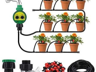 KINGSO Drip Irrigation Kit with Timer 82ft 25M Irrigation System with Timer and 20 Adjustable Dripper Automatic Plant Garden Hose Watering System for Garden Greenhouse  Flower Bed  Patio  lawn